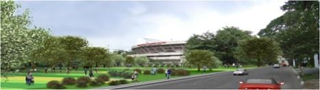 Visão da área verde e do estádio